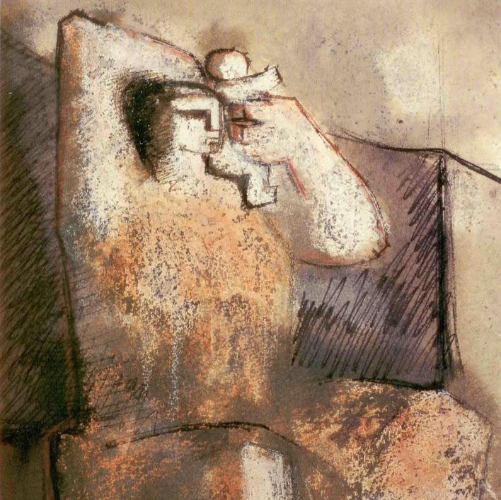 """""""Sans titre (Pst N°6)""""  - Pastel gras et technique mixte  - 33,5 x 23,5 cm - encadré. Oeuvre de Suzanne ELATH"""
