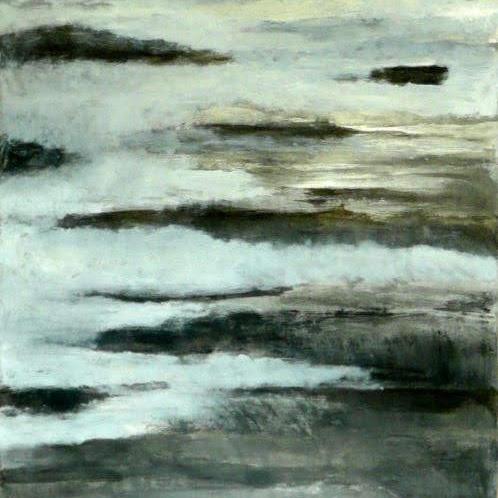 """""""Brumes"""", encre de Chine, huile sur toile 120 x 80 cm"""