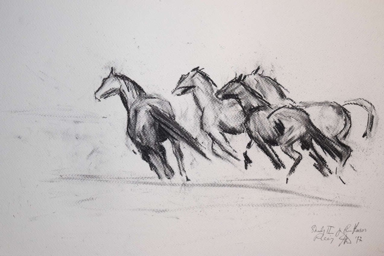 """""""Étude II pour Quatre Chevaux en Fuite"""", dessin au charbon. Jess Wallace"""