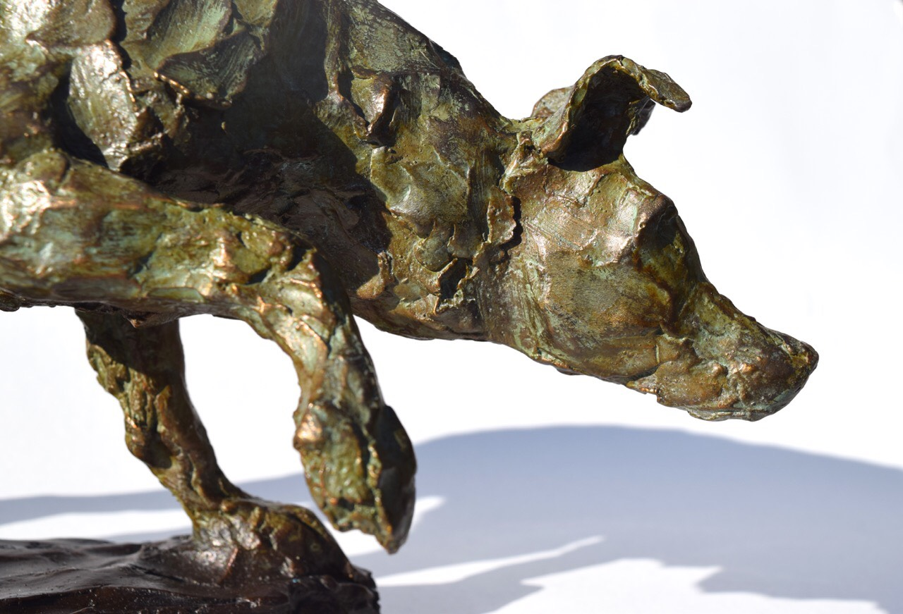 """Border Collie Surveillant (Border Collie Herding, Tess)"" détail, bronze, 19cm x 37cm x 14cm. Jess Wallace"