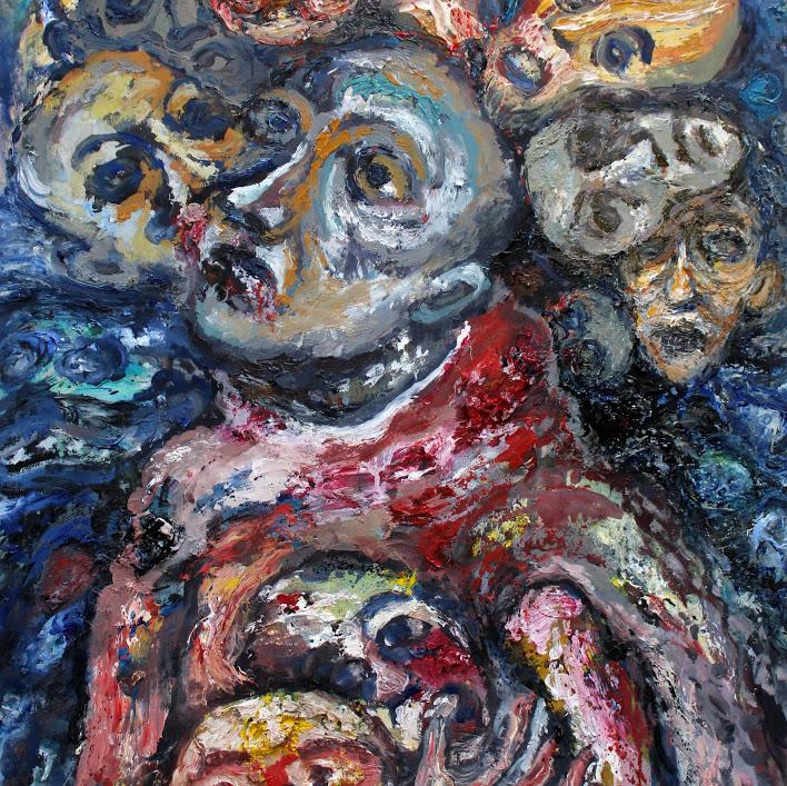 ''La comédie humaine'' - huile sur papier - 70 x 50 cm - Oeuvre de Titos Kontou