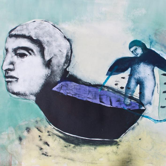 """""""Ladrona"""" - Monotype, sur papier Hahnemühle 300g - Encres de lithographie - Oeuvre de Mélanie Duchaussoy"""