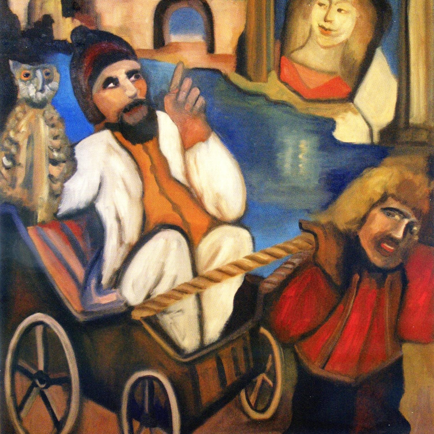 Le nain et la charrette - Huile sur toile - 116 x 89 cm. Peinture de Pierre Assémat