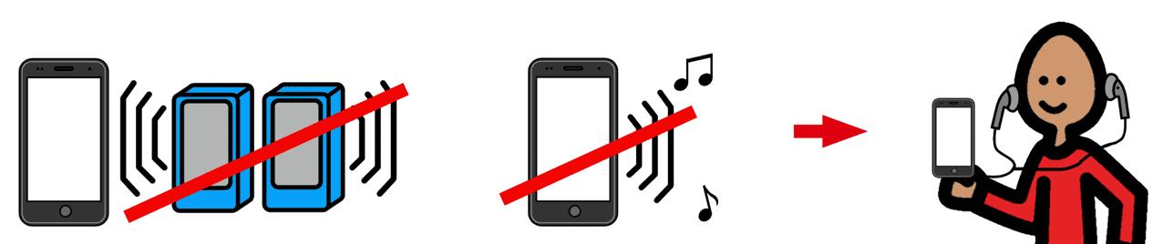 Musik hören: Nur über Kopfhörer!