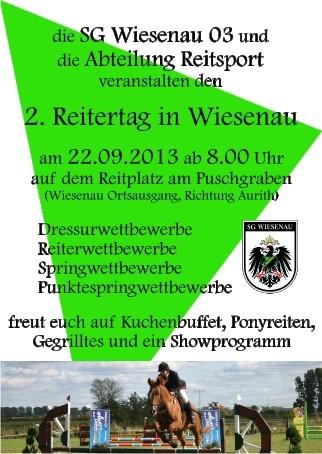 das offizielle Plakat des 2. Reitertages in Wiesenau