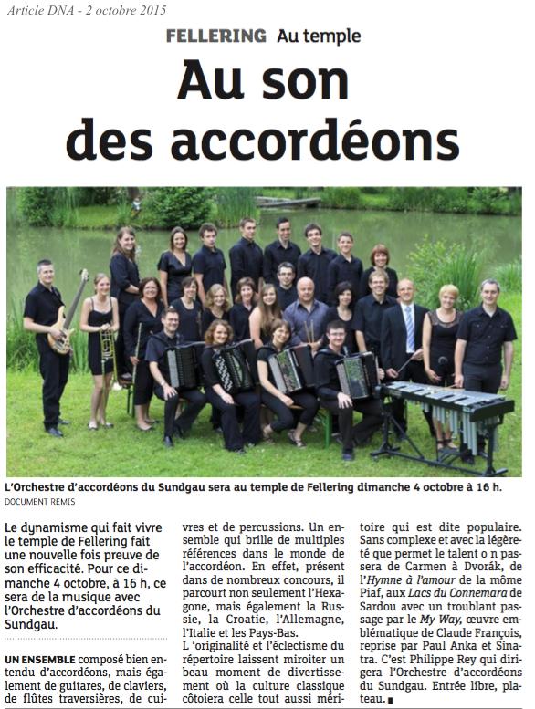 Article DNA - 2 octobre 2015 - Concert Fellering