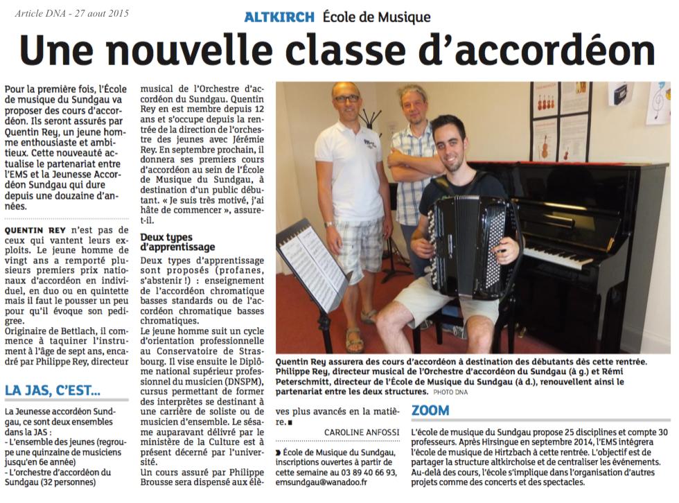 Article DNA - 27 aout 2015 - L'école de musique