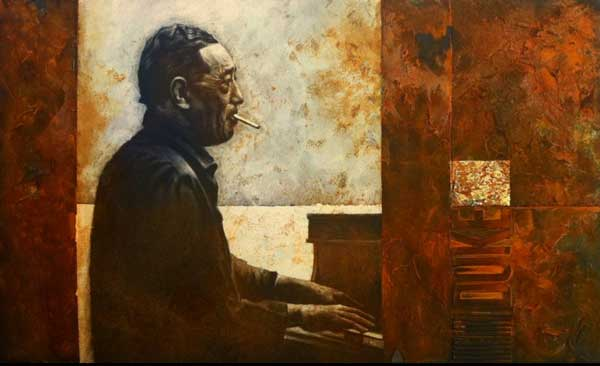 Duke Ellington, Eisenfarbe, Acryl, Strukturpaste, Sumpfkalk, Oxidationsmittel, Wellpappe, Sackleinen, Blattgold, Karton, 50 x 70 cm