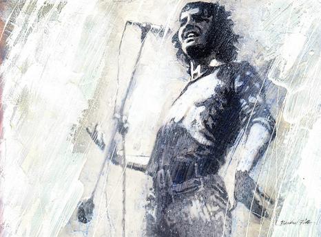 Joe Cocker in Woodstock, Tusche, Feder, Acryl, Wachs, Gouache, 28 x 38 cm