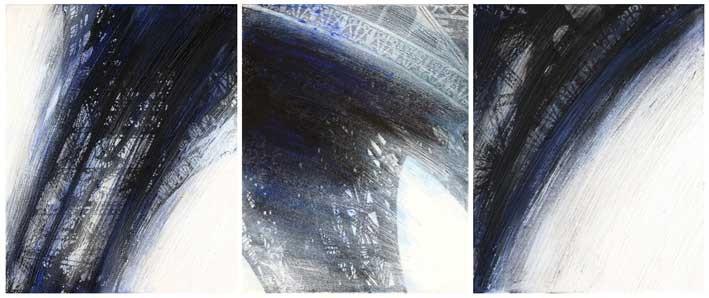 EIFFELTURM, Tryptichon, 2015, Tusche, Feder, Acryl, Wachs auf Leinwand, 50 x 124 cm