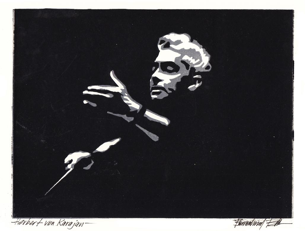 Herbert von Karajan, Linolschnitt, 18 x 23 cm