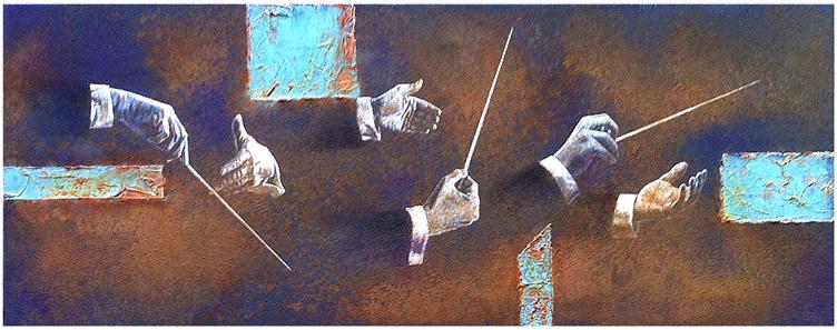 Dirigieren, Eisenfarbe, Acryl, Marmormehl, Blattgold, Oxidationsmittel, 40 x 100 cm