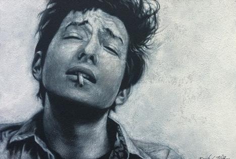 Bob Dylan, Acryl auf Leinwand, 35 x 50 cm