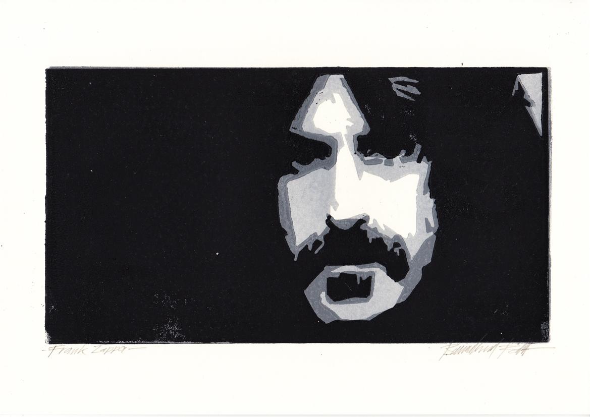 Frank Zappa, Linolschnitt, 14 x 25 cm