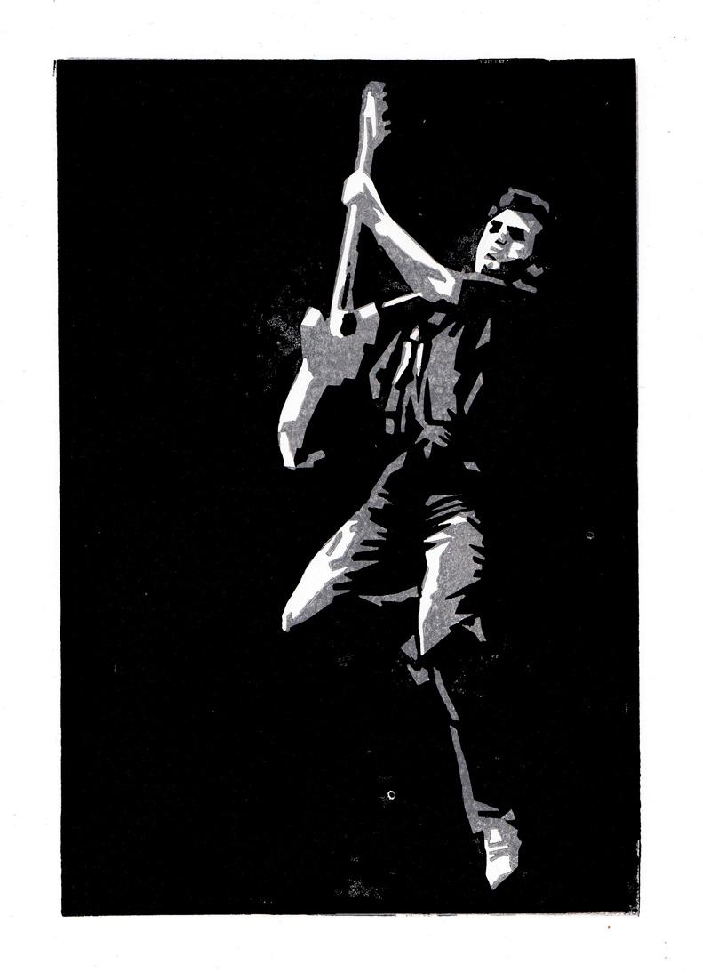 Bruce Springsteen, Linolschnitt, 16 x 24 cm