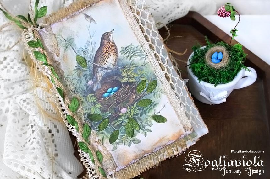 Bird Scrapbook, romantic lace junk journal