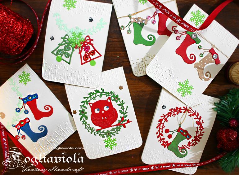 Cartoline Auguri delle Feste con Gufo, calze e Alberi
