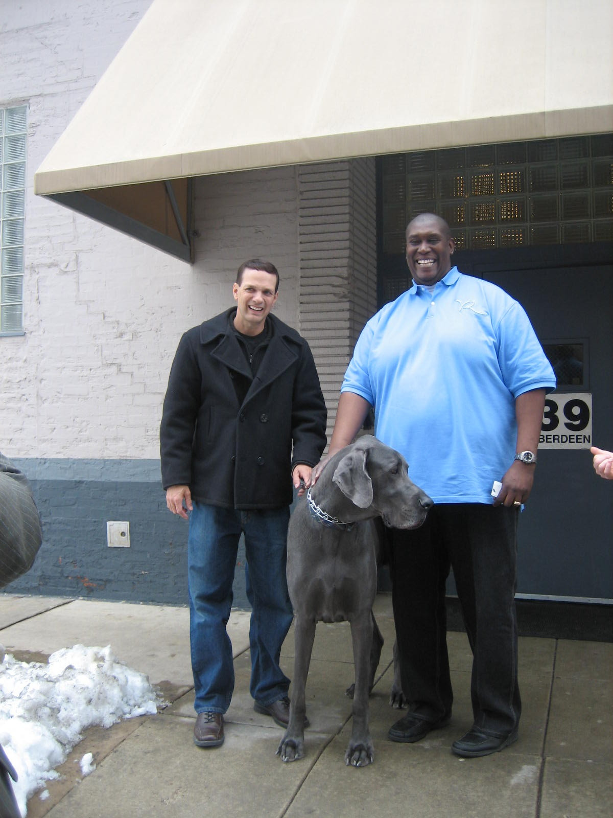 George with one of Oprah's HUGE bodyguards, Chicago Harpo Studios