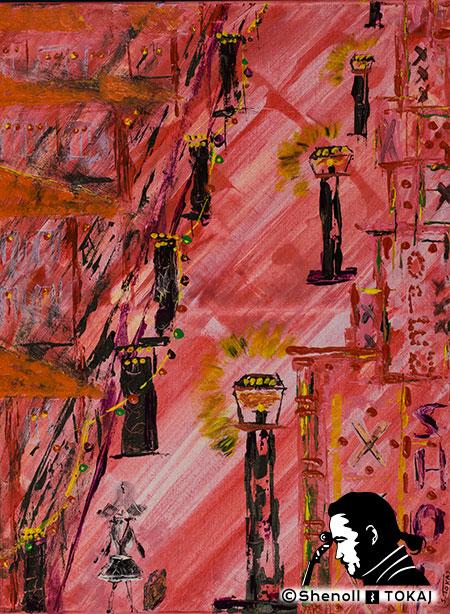 Malerei  von Shenoll Tokaj, Bild, Unikat Die Neue auf der Reeperbahn, Copyright Shenoll Tokaj 2020