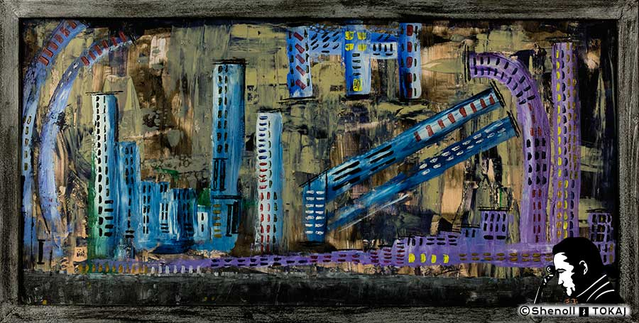 Malerei  von Shenoll Tokaj, Bild, Unikat Stadt der Zukunft, Copyright Shenoll Tokaj 2020