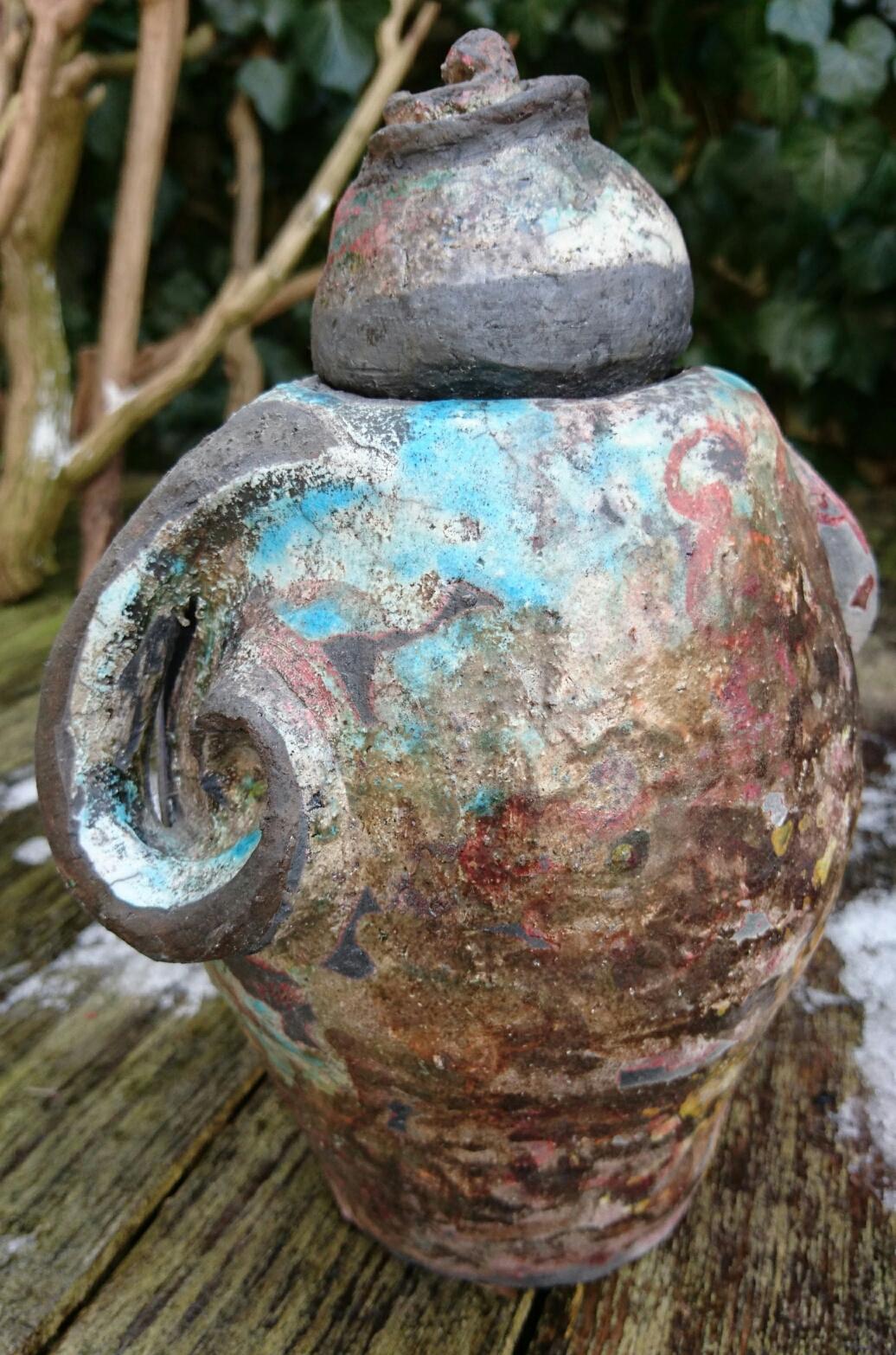 Big curled eared raku pot