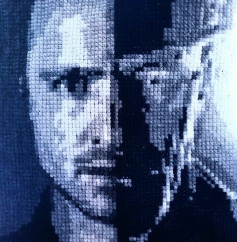 Double portrait of Breaking Bad main characters Walter White and Jesse Pinkman