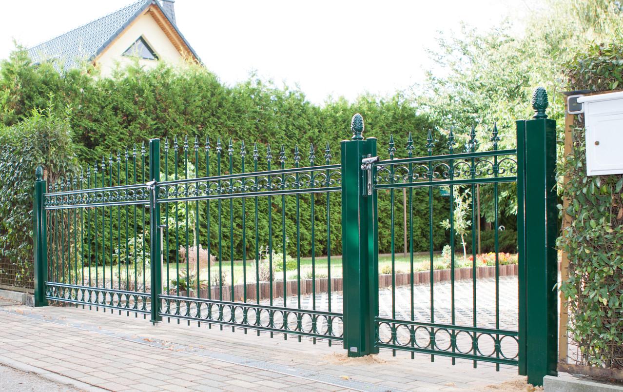 Tor Tür pulverbeschichtet grün