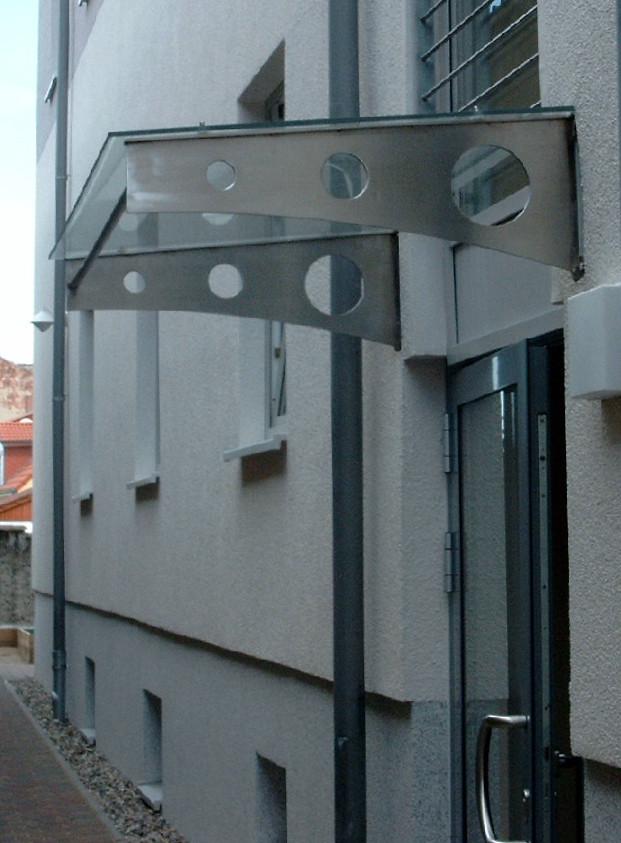 Vordach Edelstahl Glas
