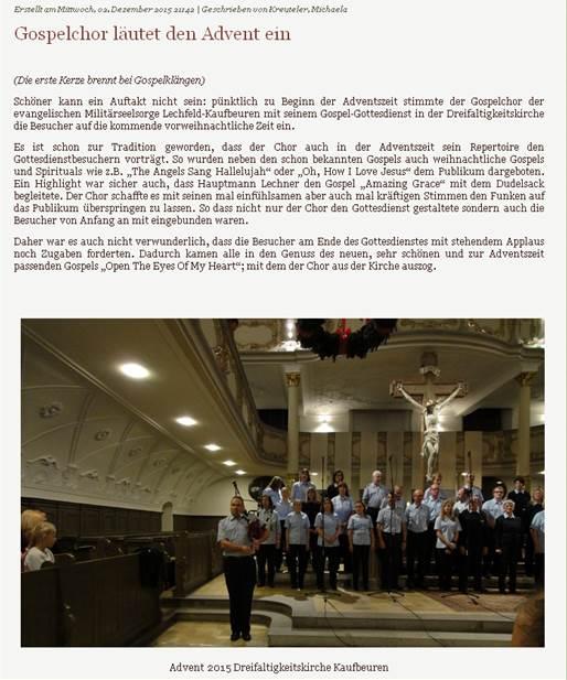 2015 - Gospelchor läutet den Advent ein