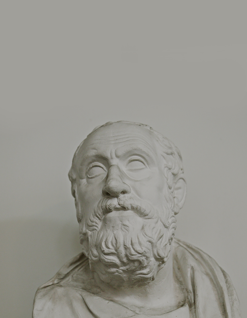 """Auch wenn von Karneades selbst keine Schriften überliefert sind, so ging er doch in die Geschichte ein als einer der bedeutendsten Verfechter der Philosophie der sogenannten Epoché, die eine generelle """"Zurückhaltung im Urteil"""" vertrat."""