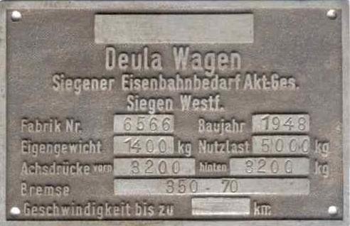 1948: Siegener Eisenbahnbedarf AG, Deula-Wagen, Fabrik-Nummer 6566