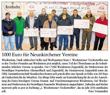 1000 Euro für Neunkirchener Vereine