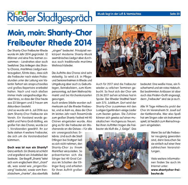 Bericht im Rheder Stadtgespräch 03/2017