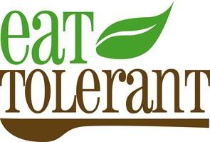 Logo von eat tolerant Jessica grüne schrift braune schrift löffel und blatt
