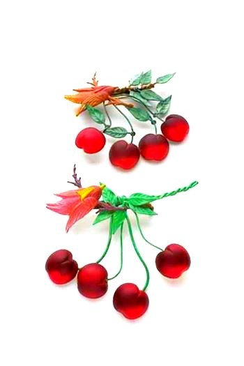 SPILLE Ciliegie , PASTE DI VETRO, METALLO FRAMEX, VINTAGE BIJOUX, SMALTATO  - CHERRIES BROOCHES