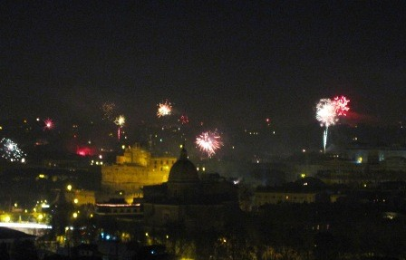 New Year's Eve over the ancient city