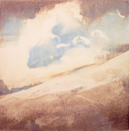 """January Snow"" monotype, 24x24, 2008"