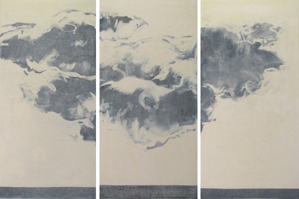 """Turbulence"" monotype, 3 panel 48 x 82, 2011, $4000"