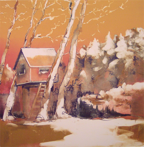 """Ren's Place"" monotype, 24x24, 2009"