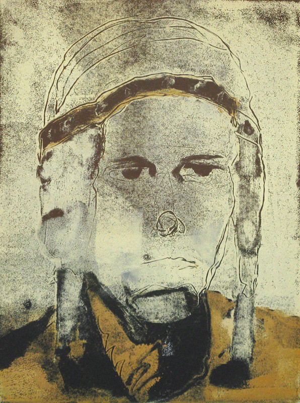 """Airman"" monotype, 20x16, 2012"