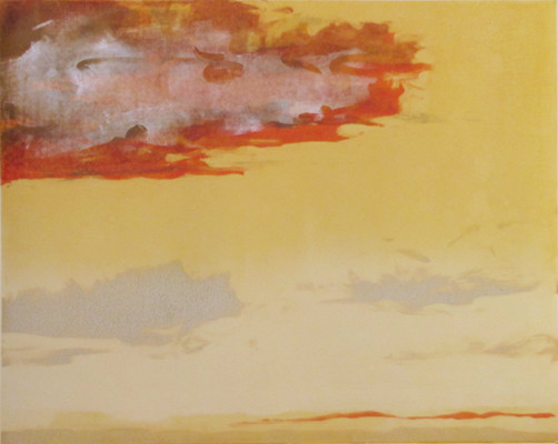 """Montauk Red"" monotype, 24x32, 2011 (sold)"