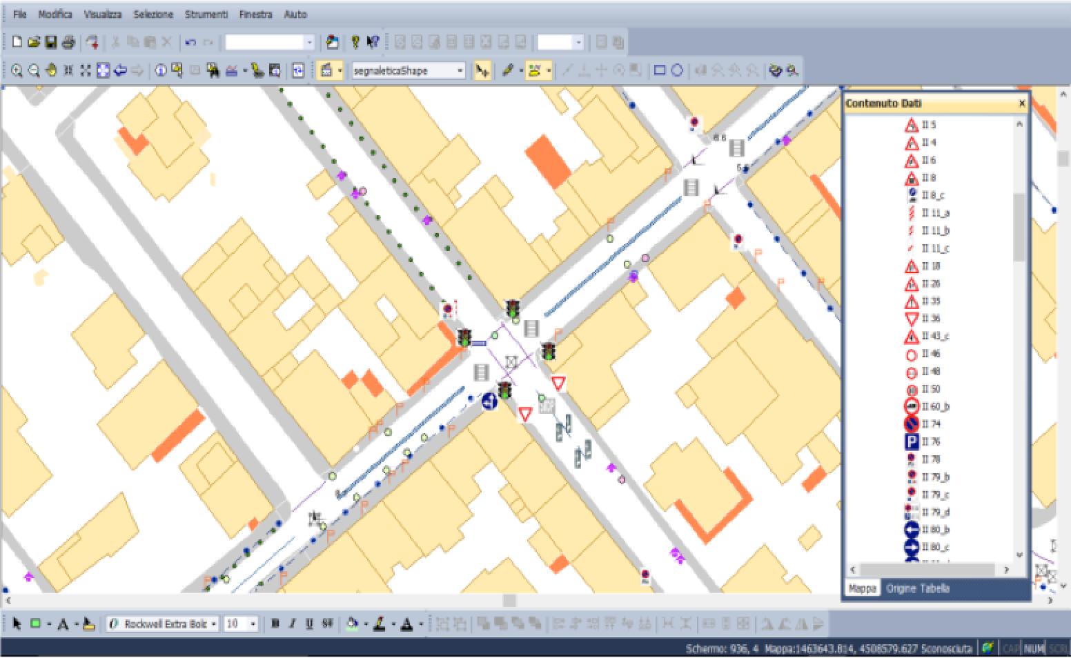 Rappresentazione su sistema GIS dei dati rilevati