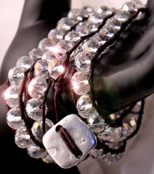 Wickel-Armband - farbig funkelnde AB beschichtete Glasperlen