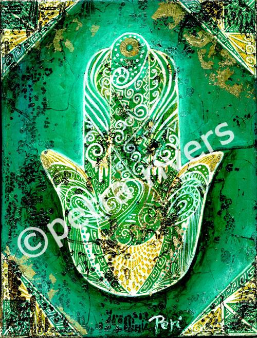 Hand der Fatima - Heilige Hand - Schutzsymbol - grün