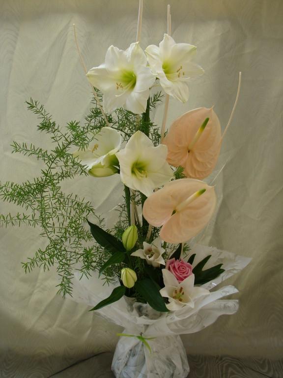 BE3-amaryllis blanc, anthurium saumon, lis blanc, rose fushia