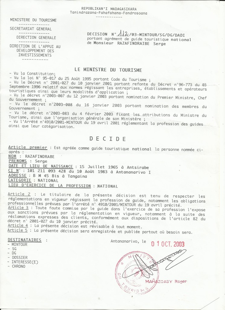 Agrément du Ministère du Tourisme Malagasy