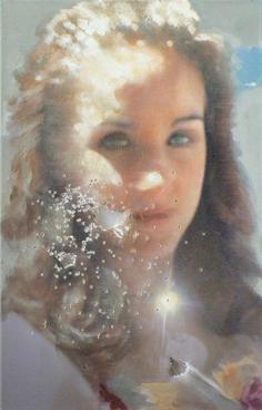 """LA. girl 2"", 60x39cm, Öl auf LW, 2004 (gunshot)2008"