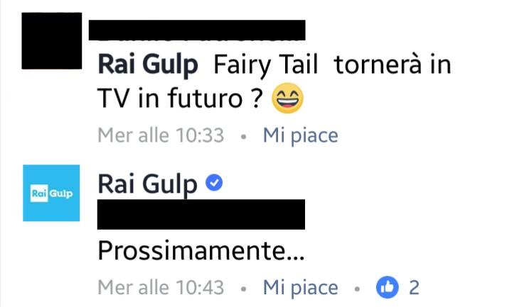 Ecco il commento di Rai Gulp dove svela che Fairy Tail tornerà in TV prossimamente.
