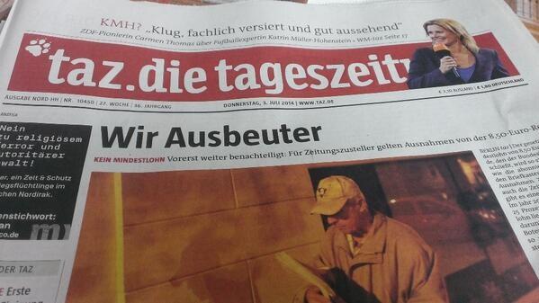 Der Titel der taz am Donnerstag, als der Mindestlohn auf der Bundestags-Agenda stand. Foto: Privat