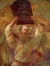 Moïse brisant la Table de la Loi, sur le mont Sinaï, Rembrant